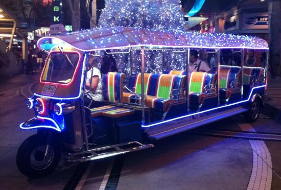 "Maybe the <em>Thai</em> Santa rides this ""stretch"" tuk-tuk."