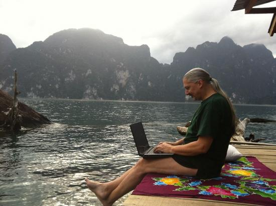 At a floating resort at Khao Sok National Park in Thailand<br />(I'm sitting just in front of my bungalow)